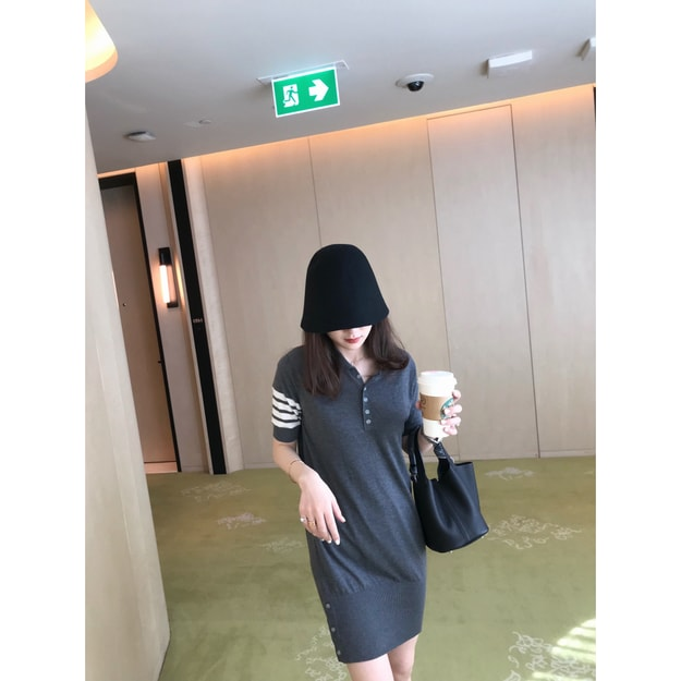 Product Detail - PRINSTORY 2019 Spring/Summer College Style Knitting Dress Grey/L - image 0