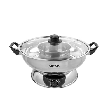 4-Qt Stainless Steel Electric Shabu Hot Pot, ASP-600, 2 Year Mfg Warranty