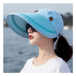 TIMESWOOD Detachable Empty Top Hat Visor Outdoor Big Beach Hat Summer Sun Hat Lake Blue 1PC