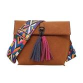 PUTWO Lint Handbag with Bohemia Shoulder Strap #Brown