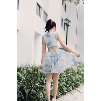 PRINSTORY 2018 Summer Sky and Cloud Dress Blue/S