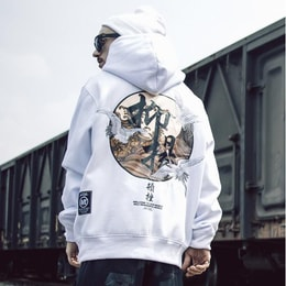 NIEPCE Flying Kanji Cranes Embroidery Hoodie White S 1 Piece