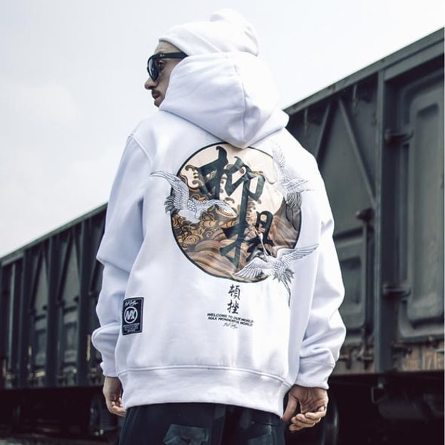 Product Detail - NIEPCE Flying Kanji Cranes Embroidery Hoodie White M 1 Piece - image 0