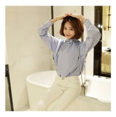 KOREA MAGZERO Water Drop Tie-Neck Blouse #Sky Blue One Size(Free) [Free Shipping]