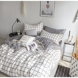 Mercury 100% Cotton White Check Queen Size 4 Piece Bedding set