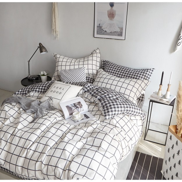 Product Detail - Mercury 100% Cotton White Check Twin / Twin XL 3 Piece Bedding set - image 0