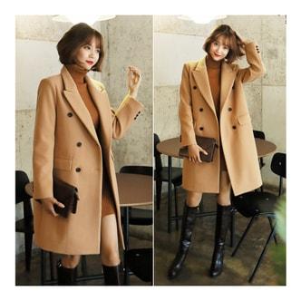 韩国正品 MAGZERO 双排扣长款大衣 #米黄色 均码(S-M) [免费配送]