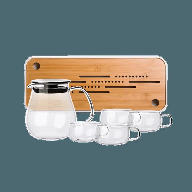 商品详情 - 网易严选日式玻璃茶壶套组 6件组:大号壶+茶杯*4+茶盘 - image  0