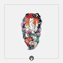 @BECOME Chinese Style Original Tattoo Stickers Nine-tailed fox One Piece