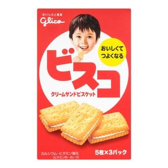 日本GLICO格力高 乳酸菌奶油味夹心饼干 盒装 60g