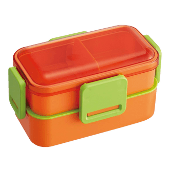 SKATER Double Layer 4 Point Lock Lunch Box with Movable Divider 600ml Carrot Orange Made in Japan