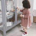 MODELAMI Kid Girl Layered Check Dress #Red 120(5-6years)