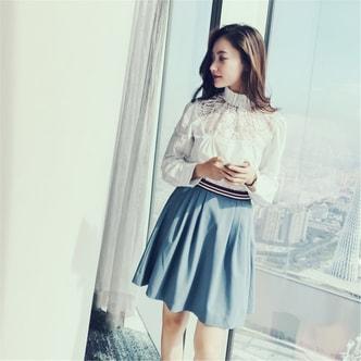 UNIQUEWHO Slim Elegant Dusty Blue High Waist Short Skirts Girls Women Mini Skirt S