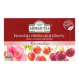 英国AHMAD TEA亚曼 英式樱桃木槿玫瑰果茶 20包入 40g