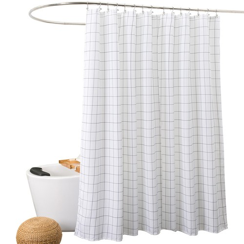 Mold Resistant Fabric Shower Curtain For Bathroom Black And WhiteWashable STALL Size 72 X Inch