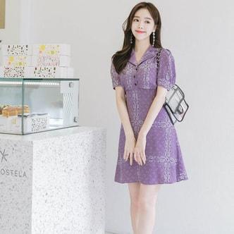 【韩国直邮】ATTRANGS 高腰民族风连衣裙 紫色 均码