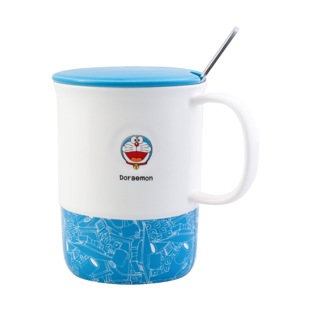 Product Detail - KINGBIRD Doraemon Ceramic Coffee Tea Mug Cup with Lid and Spoon #Blue - image 0