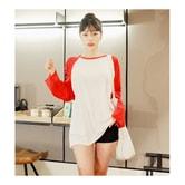 韩国MAGZERO [限量销售] 长袖字母拼色秋季韩版T恤 #红白 均码One Size(Free)