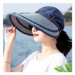 TIMESWOOD Detachable Empty Top Hat Visor Outdoor Big Beach Hat Summer Sun Hat Denim Blue 1PC