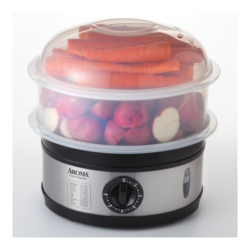 AROMA 5-Qt Stainless Steel Food Steamer AFS-186 (2 Year Manufacturer Warranty)