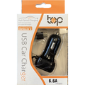 Dual USB Ports 6.6A Portable USB Car Charger Come With a Lightning Cable #Black