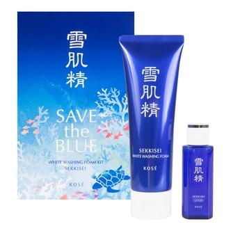 KOSE SEKKISEI Save the Blue White Washing Foam Kit 2pcs