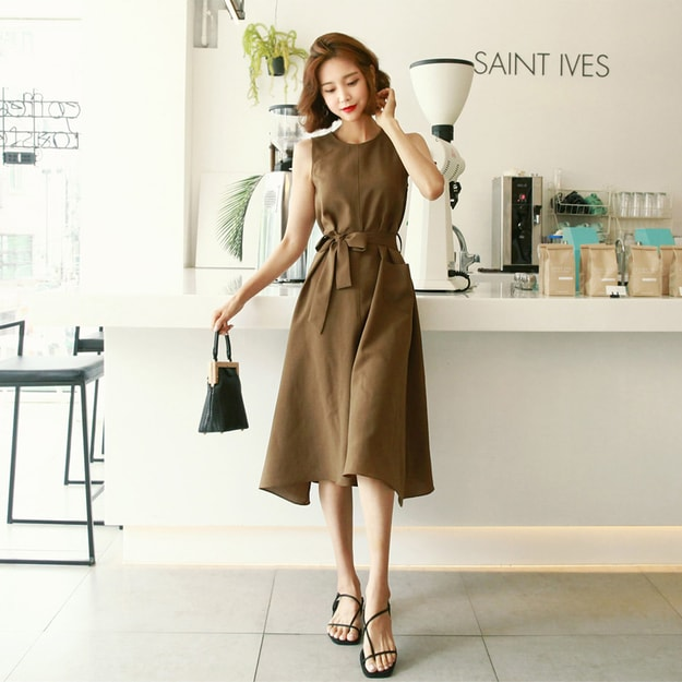 Product Detail - WINGS Sleeveless A-Line Tie-Belt Dress #Khaki Brown One Size(S-M) - image 0
