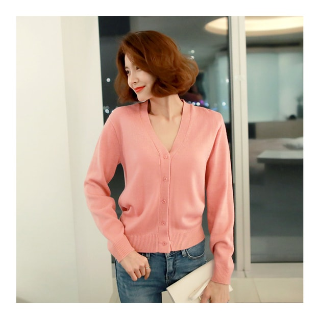 Product Detail - WINGS V-Neck Cropped Cardigan #Pink One Size(S-M) - image  0