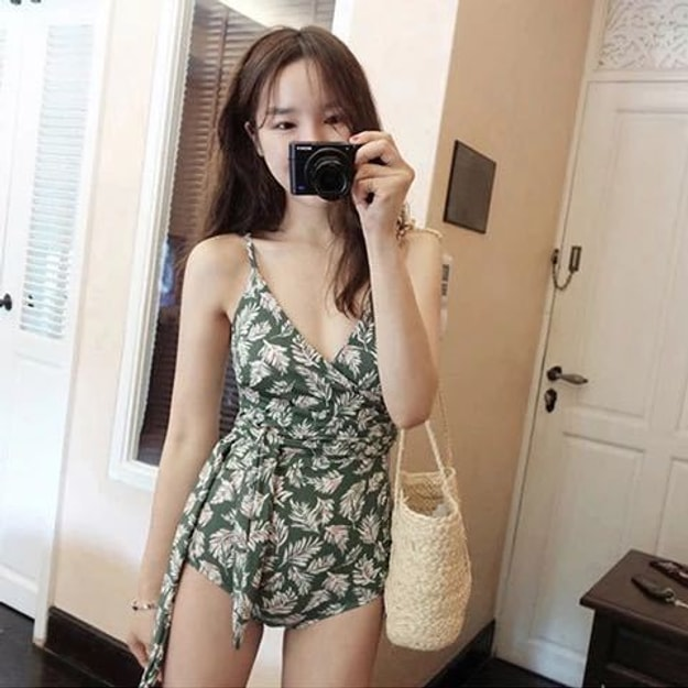 Product Detail - PRINSTORY 2019 Spring/Summer Floral Wrap-up Swimsuit Green/L - image 0