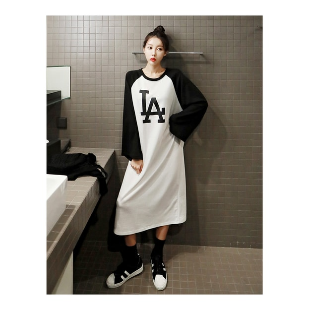 Product Detail - KOREA MAGZERO LA Letter Raglan Long dress One Size(Free) [Free Shipping] - image 0