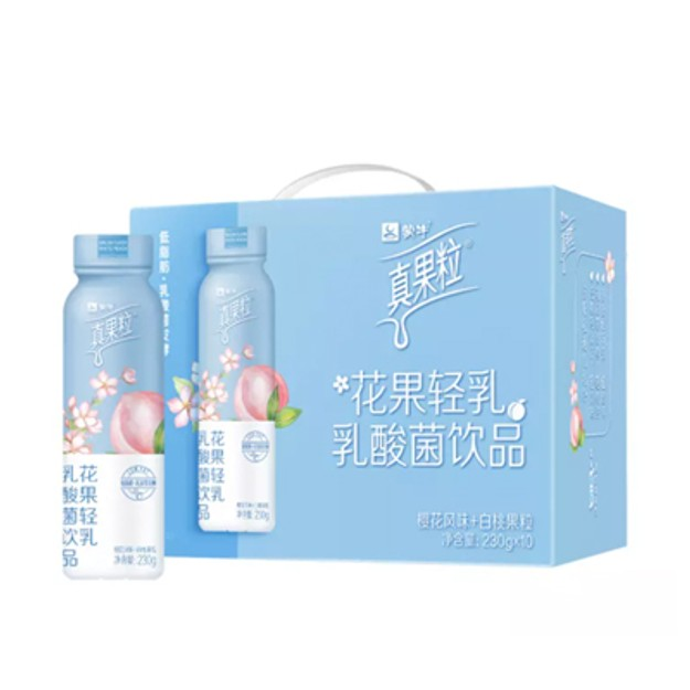 商品详情 - 蒙牛真果粒 樱花+白桃果粒牛奶饮品230g*10 - image  0