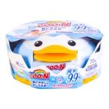 日本GOO.N大王 宝宝婴儿 湿巾湿纸巾99%纯水清爽润肤波纹擦PP纸企鹅盒装 70抽