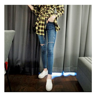 MAGZERO [2018 New] Distressed Cropped Skinny Jeans #Dark Blue S(25-26)