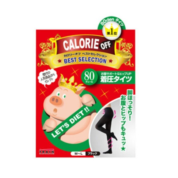 Product Detail - TRAIN CALORIE OFF Waist Support & Hip Up Tights 80D #Black 1pcs - image  0