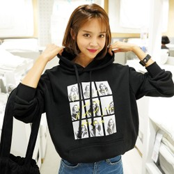 WINGS Oversized Graphic-Print hoodie #Black One Size(Free)