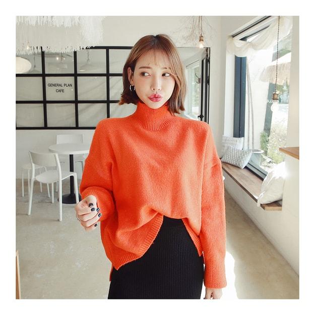 Product Detail - [KOREA] MAGZERO Funnel-Neck Unbalanced Sweater #Orange One Size(Free) [Free Shipping] - image 0