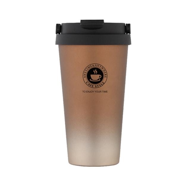 商品详情 - 中国直邮真空不锈钢500ml提手翻扣咖啡杯保温杯  金咖渐变  1件 - image  0