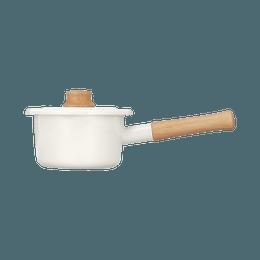 FUJIHORO||Cotton 耐热实用握把珐琅小奶锅||14cm 白色 1个