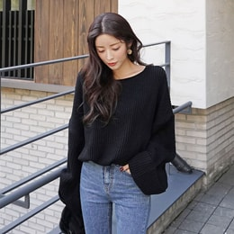 SSUMPARTY Oversized Chunky Knit Sweater #Black One Size(Free)