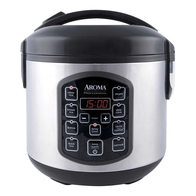 AROMA 8-Cup Digital Display Rice Cooker Slow Cooker and Food Steamer ARC-954SBD 2.5QT (5 Year Warranty)