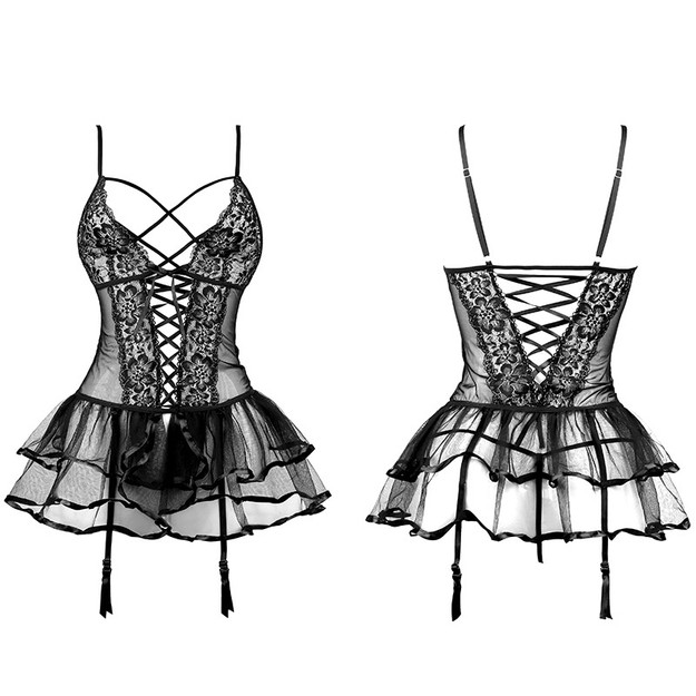 Product Detail - Sexy lingerie in lace and thin waistcoat passion seduction suit super flirty bed 7747 in black - image 0