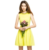 BIRRYSHOP sleeveless A-line dress   Yellow  XXL