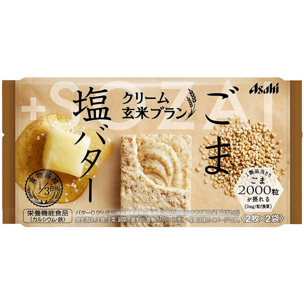 商品详情 - DHL直发【日本直邮】日本名菓 朝日ASAHI系列食品  白芝麻  盐  黄油玄米夹心饼干72g(2枚×2袋) - image  0