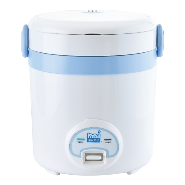 AROMA Mi Cool Touch Mini Rice Cooker Blue 3 Cups Cooked MRC-903BL (1 Year Mfg Warranty)