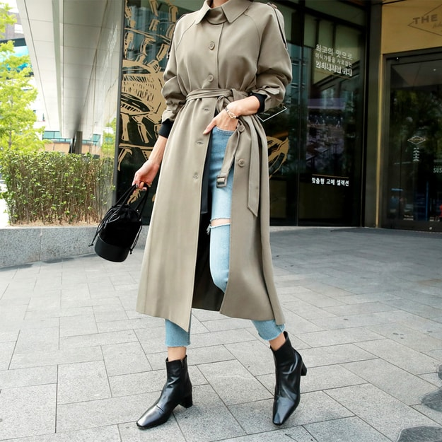 Product Detail - WINGS Maxi Trench Coat #Khaki One Size(S-M) - image 0