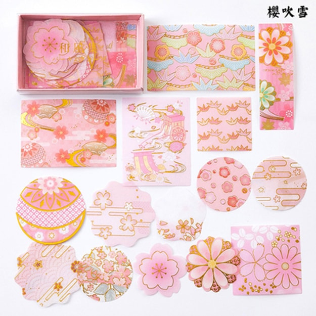 Product Detail - SUGARSHOP Gold-stamped hand-book stickers Sakura blow snow 80g - image 0