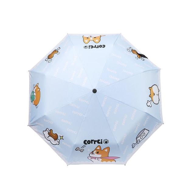 商品详情 - NAYOTHECORGI 柯基印花晴雨两用雨伞 #蓝色 - image  0