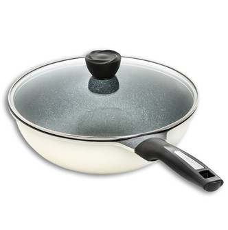 CONCORD Premium INOBLE Coated Ultra Non Stick Wok 30cm (Antique White)