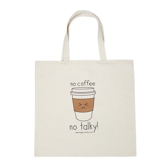 "HAPPY PANTRY ""没有咖啡拒绝开口!""手提袋"