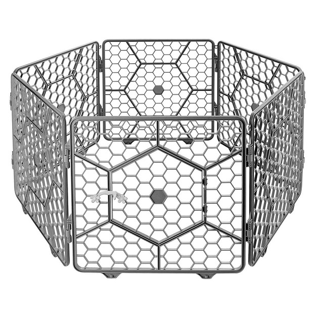 Product Detail - 8-Panel Plastic Customizable Pet Playpen Exercise Fence Cage - (Dark Grey) - image 0